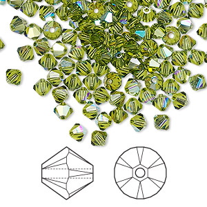 bead, swarovski crystals, crystal passions, olivine ab, 4mm xilion bicone (5328). sold per pkg of 144 (1 gross).