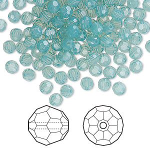 bead, swarovski crystals, crystal passions, pacific opal, 4mm faceted round (5000). sold per pkg of 144 (1 gross).