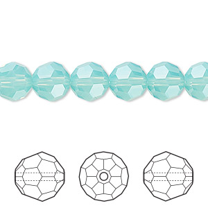 bead, swarovski crystals, crystal passions, pacific opal, 8mm faceted round (5000). sold per pkg of 12.