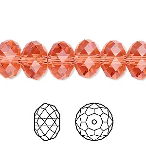 bead, swarovski crystals, crystal passions, padparadscha, 12x8mm faceted rondelle (5040). sold per pkg of 12.