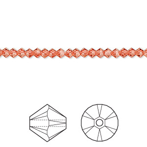 bead, swarovski crystals, crystal passions, padparadscha, 3mm xilion bicone (5328). sold per pkg of 48.