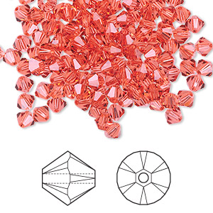 bead, swarovski crystals, crystal passions, padparadscha, 4mm xilion bicone (5328). sold per pkg of 144 (1 gross).