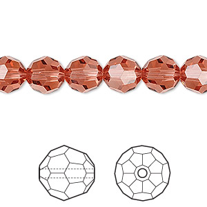 bead, swarovski crystals, crystal passions, padparadscha, 8mm faceted round (5000). sold per pkg of 12.
