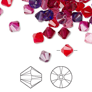 bead, swarovski crystals, crystal passions, passion, 6mm xilion bicone (5328). sold per pkg of 144 (1 gross).