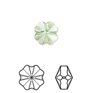bead, swarovski crystals, crystal passions, peridot, 12x12mm faceted clover (5752). sold per pkg of 4.