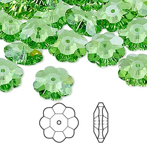 bead, swarovski crystals, crystal passions, peridot, 12x4mm faceted marguerite lochrose flower (3700). sold per pkg of 144 (1 gross).