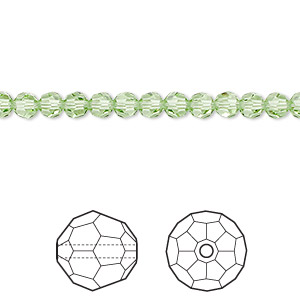 bead, swarovski crystals, crystal passions, peridot, 4mm faceted round (5000). sold per pkg of 144 (1 gross).