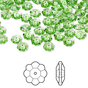 bead, swarovski crystals, crystal passions, peridot, 6x2mm faceted marguerite lochrose flower (3700). sold per pkg of 144 (1 gross).