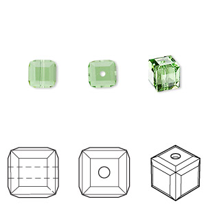 bead, swarovski crystals, crystal passions, peridot, 6x6mm faceted cube (5601). sold per pkg of 6.