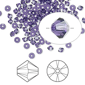 bead, swarovski crystals, crystal passions, purple velvet, 3mm xilion bicone (5328). sold per pkg of 144 (1 gross).