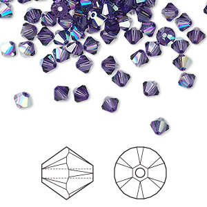 bead, swarovski crystals, crystal passions, purple velvet ab, 4mm xilion bicone (5328). sold per pkg of 144 (1 gross).