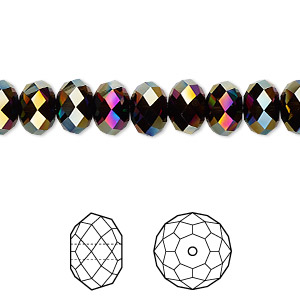 bead, swarovski crystals, crystal passions, rainbow dark 2x, 8x6mm faceted rondelle (5040). sold per pkg of 144 (1 gross).