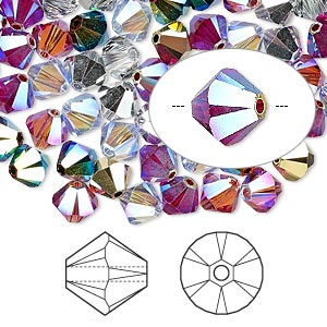 bead, swarovski crystals, crystal passions, rock star, 6mm xilion bicone (5328). sold per pkg of 144 (1 gross).
