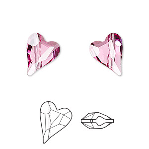 bead, swarovski crystals, crystal passions, rose, 12x10mm diagonally drilled faceted wild heart (5743). sold per pkg of 12.