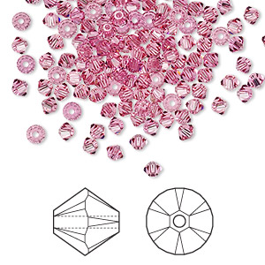 bead, swarovski crystals, crystal passions, rose, 3mm xilion bicone (5328). sold per pkg of 48.