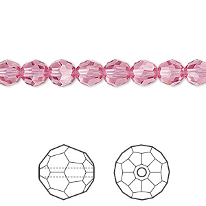 bead, swarovski crystals, crystal passions, rose, 6mm faceted round (5000). sold per pkg of 12.
