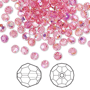 bead, swarovski crystals, crystal passions, rose ab, 4mm faceted round (5000). sold per pkg of 144 (1 gross).