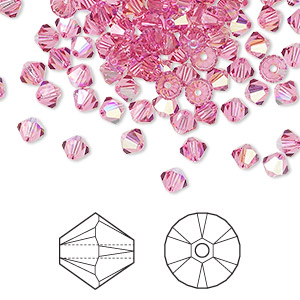 bead, swarovski crystals, crystal passions, rose ab, 4mm xilion bicone (5328). sold per pkg of 48.