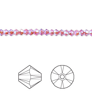 bead, swarovski crystals, crystal passions, rose ab2x, 3mm xilion bicone (5328). sold per pkg of 48.