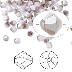 bead, swarovski crystals, crystal passions, rose alabaster satin, 4mm xilion bicone (5328). sold per pkg of 48.