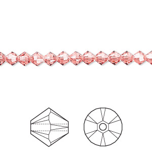 bead, swarovski crystals, crystal passions, rose peach, 4mm xilion bicone (5328). sold per pkg of 48.