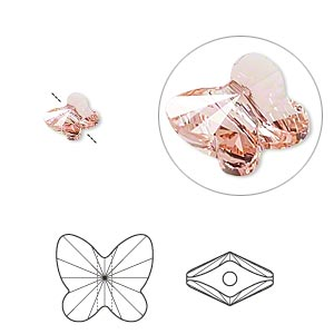 bead, swarovski crystals, crystal passions, rose peach, 6x5mm faceted butterfly (5754). sold per pkg of 12.