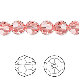 bead, swarovski crystals, crystal passions, rose peach, 8mm faceted round (5000). sold per pkg of 144 (1 gross).
