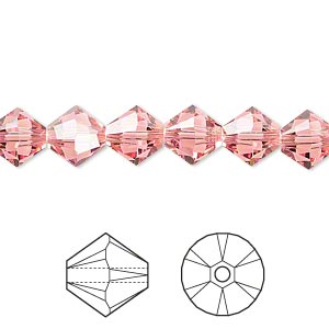 bead, swarovski crystals, crystal passions, rose peach, 8mm xilion bicone (5328). sold per pkg of 12.