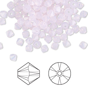 bead, swarovski crystals, crystal passions, rose water opal, 4mm faceted bicone (5301). sold per pkg of 48.