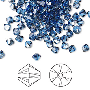 bead, swarovski crystals, crystal passions, sapphire satin, 4mm xilion bicone (5328). sold per pkg of 48.