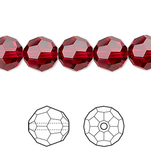bead, swarovski crystals, crystal passions, scarlet, 10mm faceted round (5000). sold per pkg of 2.