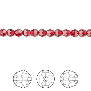 bead, swarovski crystals, crystal passions, scarlet, 4mm faceted round (5000). sold per pkg of 12.