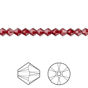 bead, swarovski crystals, crystal passions, scarlet, 4mm xilion bicone (5328). sold per pkg of 48.