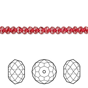 bead, swarovski crystals, crystal passions, scarlet, 4x3mm faceted rondelle (5040). sold per pkg of 12.