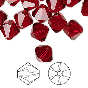 bead, swarovski crystals, crystal passions, siam, 10mm xilion bicone (5328). sold per pkg of 2.