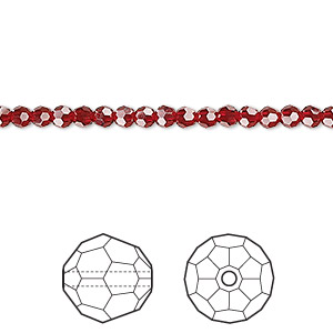bead, swarovski crystals, crystal passions, siam, 3mm faceted round (5000). sold per pkg of 12.