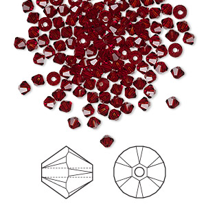 bead, swarovski crystals, crystal passions, siam, 3mm xilion bicone (5328). sold per pkg of 144 (1 gross).