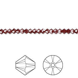 bead, swarovski crystals, crystal passions, siam, 3mm xilion bicone (5328). sold per pkg of 48.