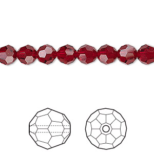 bead, swarovski crystals, crystal passions, siam, 6mm faceted round (5000). sold per pkg of 12.