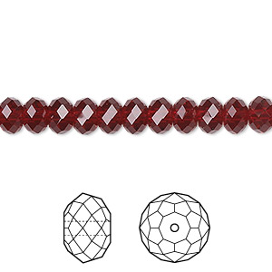 bead, swarovski crystals, crystal passions, siam, 6x4mm faceted rondelle (5040). sold per pkg of 12.