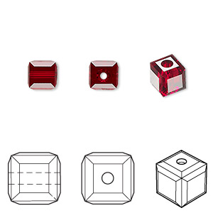 bead, swarovski crystals, crystal passions, siam, 6x6mm faceted cube (5601). sold per pkg of 6.