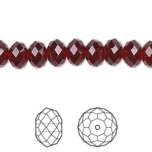 bead, swarovski crystals, crystal passions, siam, 8x6mm faceted rondelle (5040). sold per pkg of 144 (1 gross).