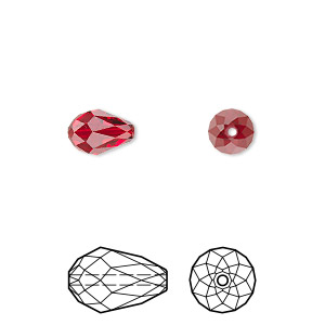 bead, swarovski crystals, crystal passions, siam, 9x6mm faceted teardrop (5500). sold per pkg of 2.