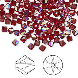 bead, swarovski crystals, crystal passions, siam ab, 4mm xilion bicone (5328). sold per pkg of 144 (1 gross).