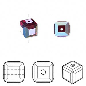 bead, swarovski crystals, crystal passions, siam ab, 8x8mm faceted cube (5601). sold per pkg of 6.