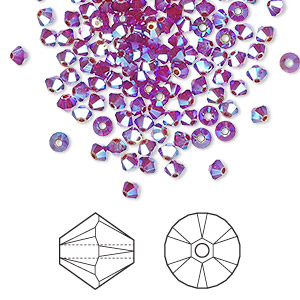 bead, swarovski crystals, crystal passions, siam ab2x, 3mm xilion bicone (5328). sold per pkg of 144 (1 gross).