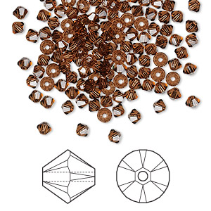 bead, swarovski crystals, crystal passions, smoked topaz, 3mm xilion bicone (5328). sold per pkg of 144 (1 gross).