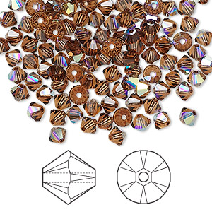 bead, swarovski crystals, crystal passions, smoked topaz ab, 4mm xilion bicone (5328). sold per pkg of 144 (1 gross).