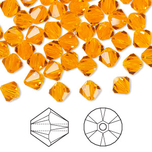 bead, swarovski crystals, crystal passions, sun, 6mm faceted bicone (5301). sold per pkg of 24.
