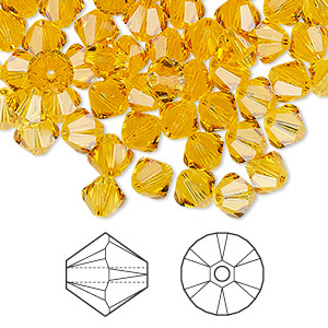 bead, swarovski crystals, crystal passions, sunflower, 6mm xilion bicone (5328). sold per pkg of 144 (1 gross).